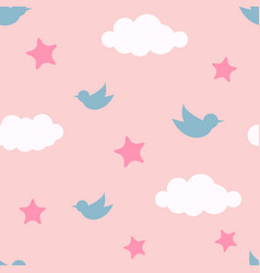 Bird in cloud and star seamless pattern cartoon vector