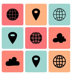 Black flat map pin icons vector