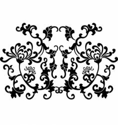 Black floral curves silhouette ornament vector