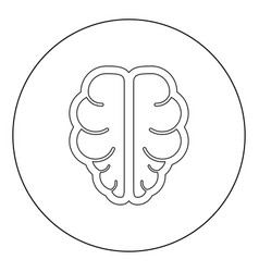 brain icon black color in circle or round vector image