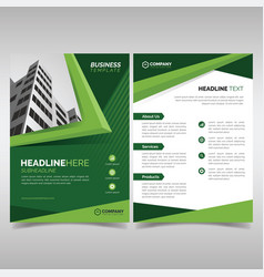 Business flyer template with green geometric vector