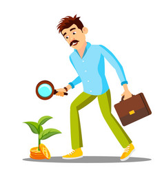 businessman looking for money with magnifier on vector image