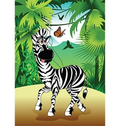 Cartoon zebra in forrest vector