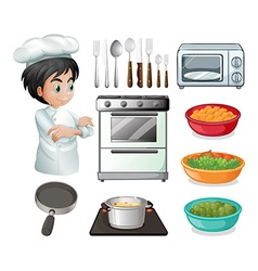 Chef and utensil vector image