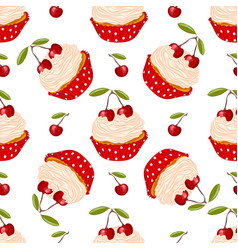Cherry cupcake seamless pattern vector
