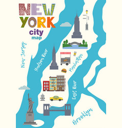 City map of manhattan of new york city vector