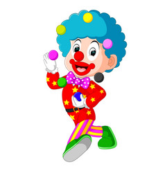 Clown playing balls vector