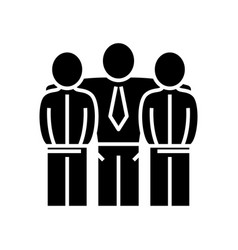 Collegues friendship black icon concept vector