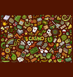 Colorful doodle cartoon set casino vector