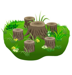 Composition with tree stubs in grass and flowers vector
