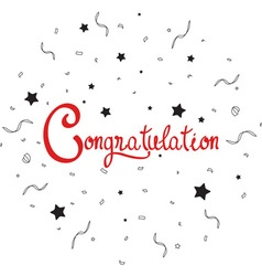 Congratulations lettering with confetti vector