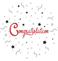 Congratulations lettering with confetti vector image vector image