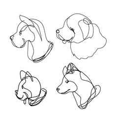 Continuous line dog set vector