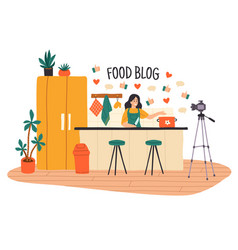 cooking video blog women vlog or show vector image