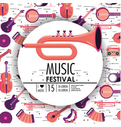 Cornet and instruments to music festival event vector
