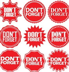 Dont forget red label forget red sign vector
