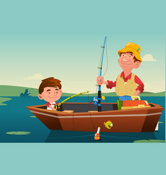 Father son fishing vector