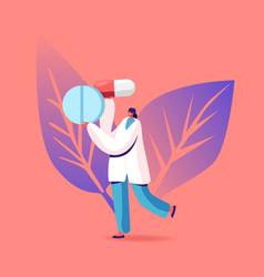 Female doctor carry huge medicine pills vector