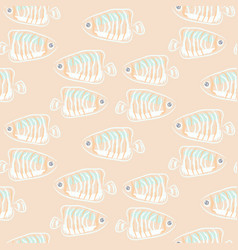 fish beige soft pastels aquatic seamless pattern vector image