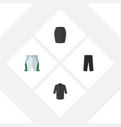 Flat icon garment set of stylish apparel pants vector