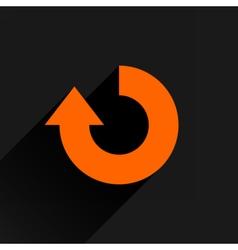 Flat orange arrow icon refresh reset repeat sign vector