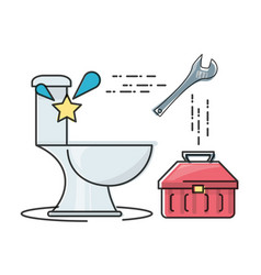 flat set icon bathroom and tools plumbing vector image