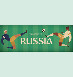 Football soccer player banner of characters vector