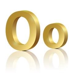 Golden letter O vector