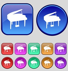 Grand piano icon sign A set of twelve vintage vector