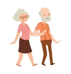 Grandmother and grandfather in modern flat design vector