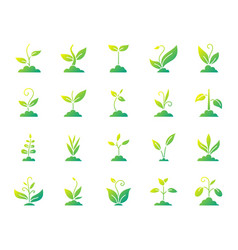 Grass simple gradient icons set vector