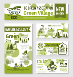 Green city eco business banner template design vector