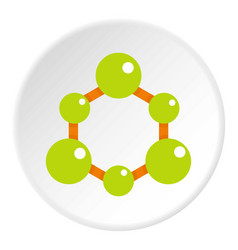 Green molecule structure icon circle vector