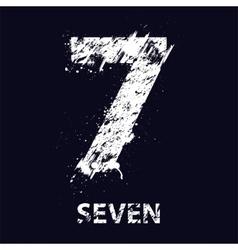 Grunge number seven vector