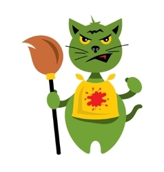 Halloween Cat with Witch Broomstick Cartoon vector