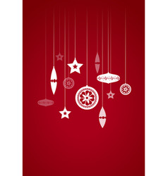 Hanging christmas decoration on red background vector