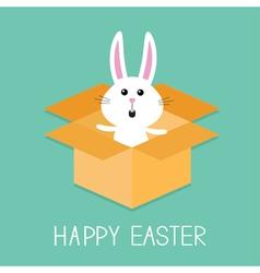 Happy Easter Cute bunny rabbit Open paper vector