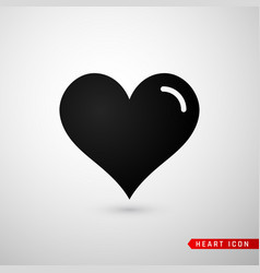 heart flat icon love symbol isolated on gray vector image