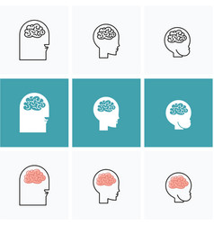 icons brain heads of three people vector image