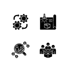 Industrial processes black glyph icons set vector