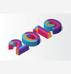 isometric 2019 3d letter background vector image