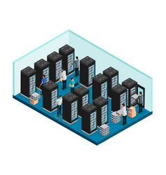 Isometric datacenter concept vector