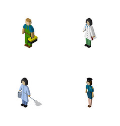isometric human set of cleaner officer medic and vector image