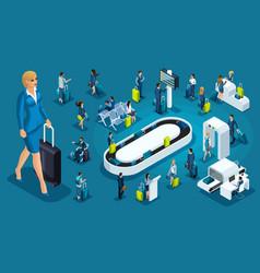 isometric set international airport business trip vector image