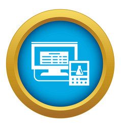 lab digital monitor icon blue isolated vector image