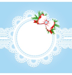 Lace round frame with christmas decorative bow vector