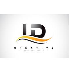 Ld l d swoosh letter logo design with modern vector