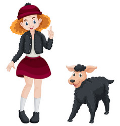 Little girl and black sheep vector