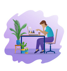 Man play chess game online vector