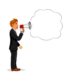 Manager shouting through megaphone with copy space vector image